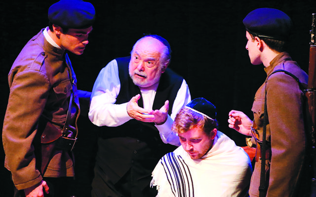 "From left, Stuart Cullen, Michael Fox, Fergal O'Hanlon, and Lev Herskovitz in ""The Irish Hebrew Lesson,"" the first play in ""2 By Wolf."" The titular Wolf is playwright Wolf Mankowitz."