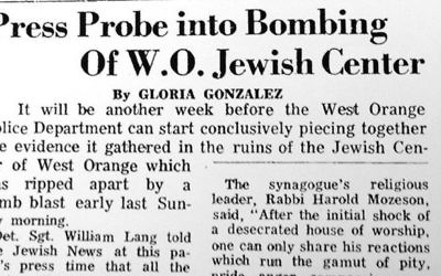 A front-page story on the bombing from the Jewish News of April 23, 1971