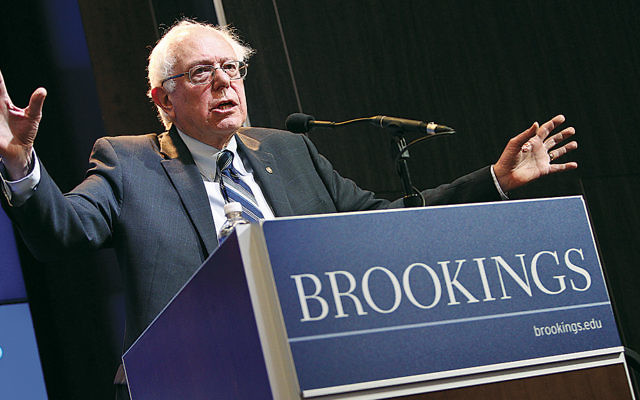 In February, U.S. Sen. Bernie Sanders (I-Vt.) delivers an address on how to spur the American economy during an event hosted by the Brookings Institution.  (Paul Morigi Photography/Brookings Institution via Flickr.com)