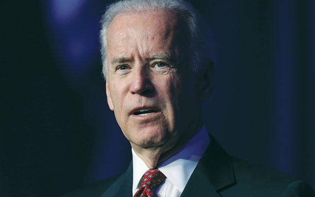 Vice President Joe Biden delivers remarks at the Good Jobs Green Jobs National Conference in Washington, D.C., in April. This week he beseeched Jewish leaders in a phone call on the Iran nuclear deal. (Chip Somodevilla/Getty Images)
