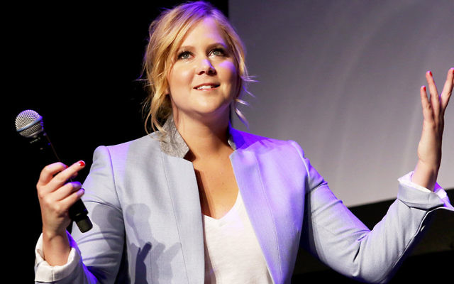 """Amy Schumer talking about her new film, """"Trainwreck,"""" at the Tribeca Film Festival in New York in April. (Robin Marchant/Getty Images)"""