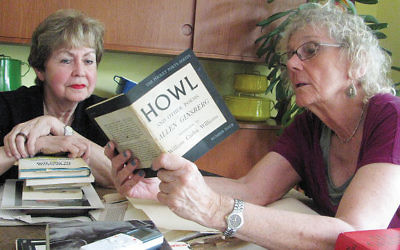 """Pat Sebold, right, discusses her cousin Allen Ginsberg's collection of poetry in """"Howl"""" with Linda Forgosh, executive director of the Jewish Historial Society of New Jersey."""