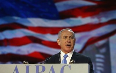 Israeli Prime Minister Benjamin Netanyahu speaking in Washington, D.C., at AIPAC's annual conference, March 2, 2015. AIPAC is following Israel in rejecting the nuclear deal with Iran. (Mark Wilson/Getty Images)