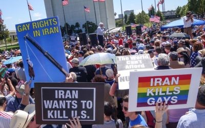 Protestors turned out in Los Angeles to protest the Iran nuclear deal on July 26. (Peter Duke)