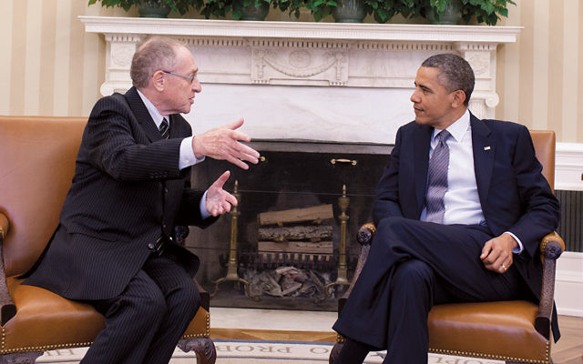 Retired law professor Alan Dershowitz discusses his opposition to the Iran nuclear deal with President Barack Obama in the Oval Office of the White House.