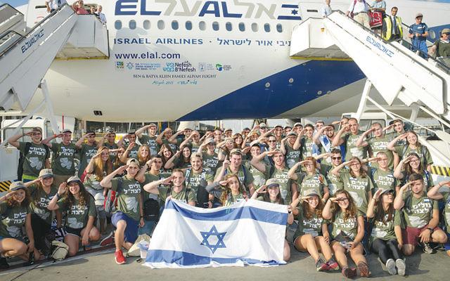 future Israeli soldiers after landing at Ben Gurion Airport. (Shahar Azran)