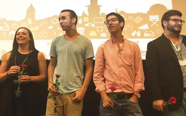 From left, documentary team Niah Anson of Las Vegas, Gil Eliav of Jerusalem, Zev Rand of Teaneck, and Lucas Markman of Texas in Jerusalem. (Photo courtesy of Zev Rand)