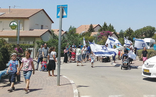 A view of the parade through the streets of Moreshet.