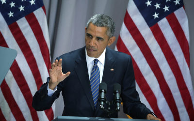 WASHINGTON, DC - AUGUST 05:  U.S. President Barack Obama pauses as he delivers a speech about the Iran nuclear agreement  August 5, 2015 at American University in Washington, DC. Obama is pushing for congress to appove the nuclear deal reached with Iran.  (Photo by Alex Wong/Getty Images)