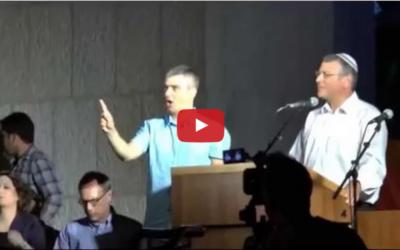 Rabbi Benny Lau addresses Jerusalem rally (Photo: youtube)