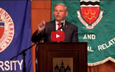 Senator Bob Menendez speaks out against the Iran deal in an address at Seton Hall University's School of Diplomacy and International Relations
