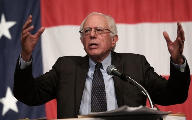 Sen. Bernie Sanders speaking at the Iowa Democratic Wing Ding in Clear Lake, Aug. 14, 2015. (Win McNamee/Getty Images)