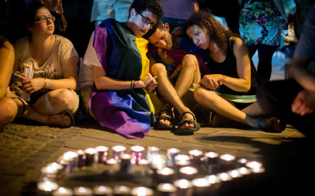 Israelis take part at a memorial ceremony in remembrance of Shira Banki at Zion Square in Jerusalem on August 2, 2015, Shira Banki was critically wounded in an attack by Yishai Schlissel, an ultra-Orthodox man on Thursday, she died earlier today. Photo by Yonatan Sindel/Flash90