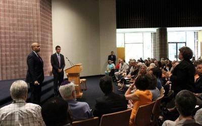 Senator Cory Booker and Treasury Under Secretary Adam Szubin hear from the Jewish community Tuesday morning at  B'nai Abraham Synagogue in Livingston.