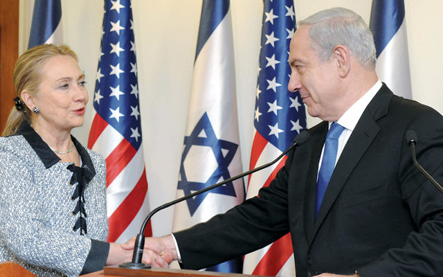 Hillary Clinton, then U.S. secretary of state, meets with Israeli Prime Minister Benjamin Netanyahu at his Jerusalem office in November 2012. (Avi Ohayon/GPO via Getty Images)