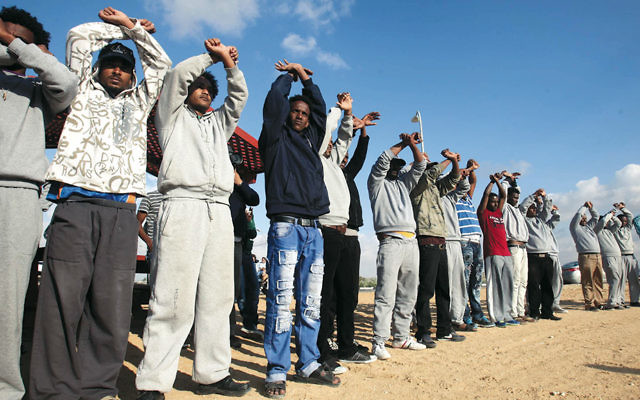 In February, African migrants protested outside the Holot detention center in southern Israel. (Flash90)