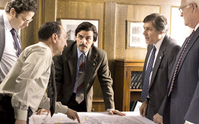 """Oscar Isaac, center, plays Yonkers mayor Nick Wasicsko in the HBO miniseries """"Show Me a Hero."""" (Courtesy of HBO)"""
