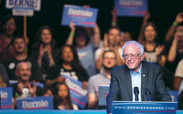 Democratic presidential candidate Senator Bernie Sanders speaking at a campaign fundraising reception at the Avalon Hollywood nightclub in Los Angeles. (Ron Kampeas)