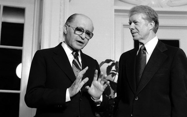 Prime Minister Menachem Begin meets at the White House with President Jimmy Carter.