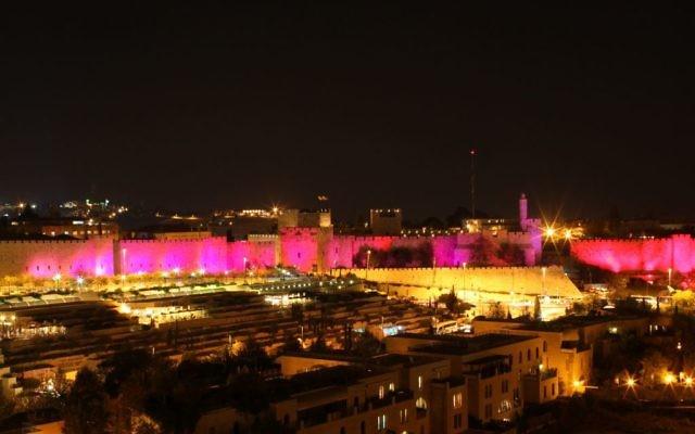 Pink lights promoting breast cancer awareness in Jerusalem's Old City, Oct. 25, 2010. (Kobi Gideon/Flash90)