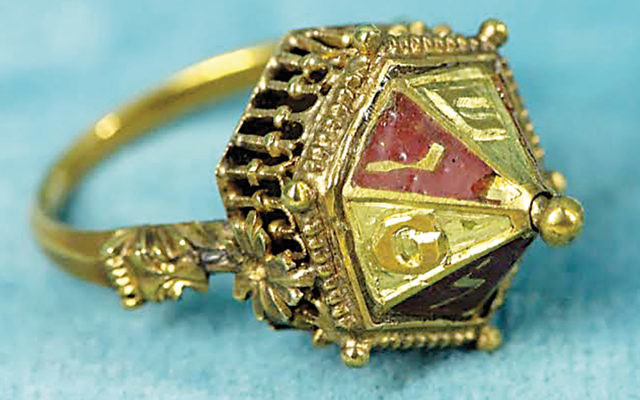 A Jewish wedding ring that dates to the early 14th century, found in Alsace, France, in 1863.