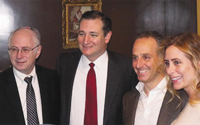Norpac's president, Dr. Ben Chouake, left, stands next to Republican presidential hopeful Ted Cruz. Ben and Batya Klein, right, hosted the fund-raiser in their Englewood home. (Avi Schranz/Norpac)
