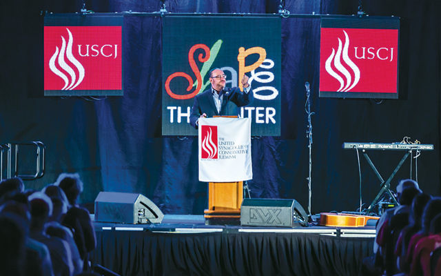 Rabbi Steven Wernick, CEO of the United Synagogue of Conservative Judaism, speaks at the group's conference in Schaumburg, Illinois, on November 15.  (USCJ)