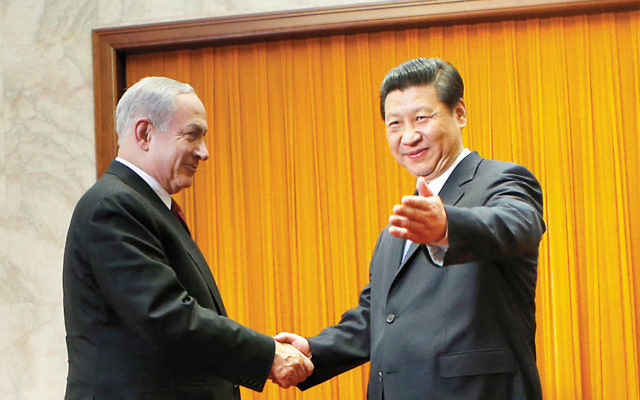 Israeli Prime Minister Benjamin Netanyahu meets with President Xi Jinping of China at the Great Hall of the People in Beijing in 2013. (Kim Kyung-Hoon/ Getty Images)