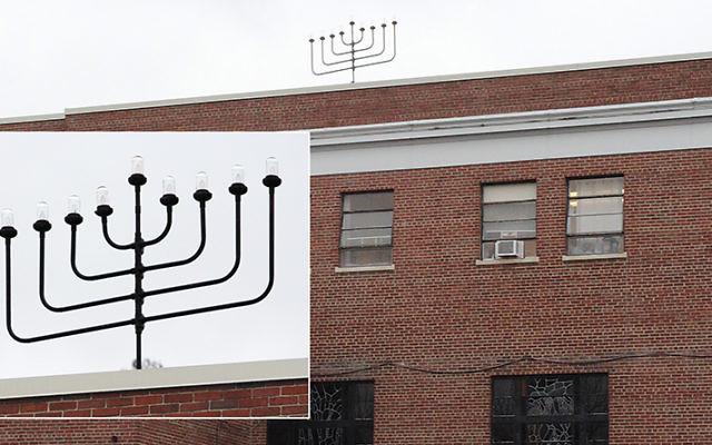 Buddy Unger's handiwork still crowns the Jewish Center of Teaneck. Inset, a closeup of the chanukiyah.