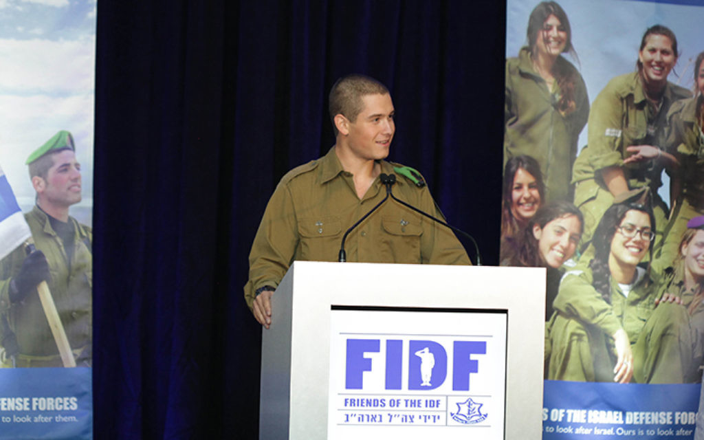Harrison Adler speaks at a recent Friends of the Israel Defense Forces dinner in Parsippany.