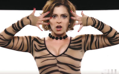 "Rebecca Bloom, the creator and star of ""Crazy Ex-Girlfriend,"" in a musical scene from the series. (Screenshot from YouTube)"
