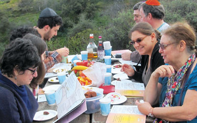 The Movable Minyan celebrates its outdoor  Tu b'Shvat seder. (Edmon J. Rodman)