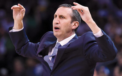 David Blatt, the former coach of the Cleveland Cavaliers, reacting to a call in a game against the Golden State Warriors in Oakland, Calif., on December 25, 2015. (Thearon W. Henderson/Getty Images)
