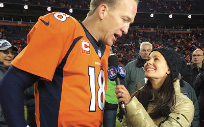 Interviewing Peyton Manning  Photo courtesy CBS SPORTS