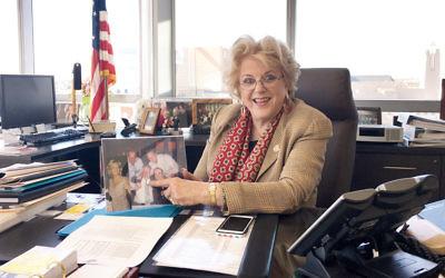 Carolyn Goodman, the mayor of Las Vegas, sits in her office on February 10. (Ron Kampeas)