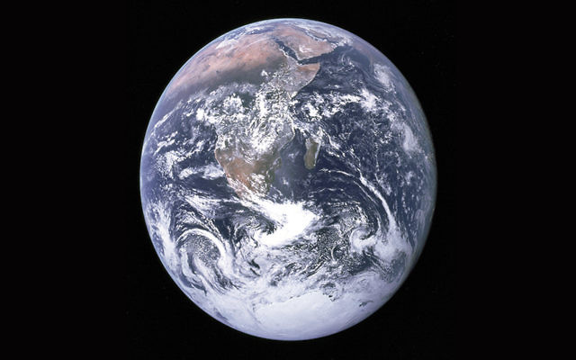 The earth as seen from space in a photo taken by the Apollo 17 astronauts.