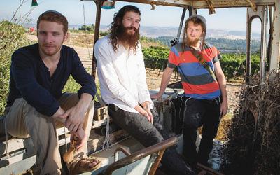 From left, Elisha Mlotek, Shlomo Gaisin, and Zachariah Goldschmiedt are Zusha. (Photo: Noam Chojnowski)