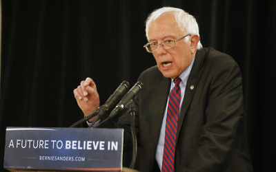 SALT LAKE CITY - MARCH 21: Democratic presidential candidate Bernie Sanders speaks during a campaign rally at West High School on March 21, 2016 in Salt Lake City, Utah. The Republican and Democratic caucus will be held in Utah on Tuesday, March 22. (Photo by George Frey/Getty Images)