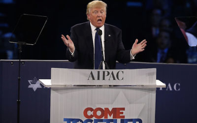 WASHINGTON, DC - MARCH 21:  Republican presidential candidate Donald Trump addresses the annual policy conference of the American Israel Public Affairs Committee (AIPAC) March 21, 2016 in Washington, DC. Presidential candidates from both parties gathered in Washington to pitch their views on Israel.  (Photo by Alex Wong/Getty Images)