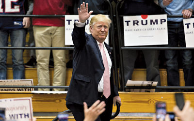 Presumptive Republican presidential nominee Donald Trump arrives at a rally at Radford University in Virginia on February 29.