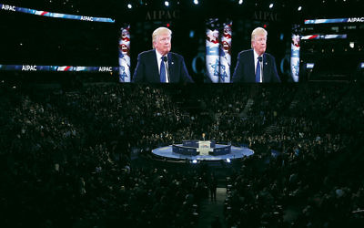 Donald Trump addresses AIPAC's annual policy conference in Washington on March 21. (Alex Wong/Getty Images)