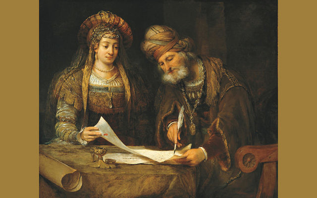 """""""Esther and Mordecai"""" by Aert de Gelder, 1674. It now hangs in the National Museum of Fine Arts in Buenos Aires, Argentina. (Wikipedia)"""