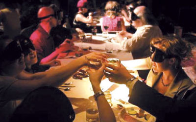 Blindfolded diners participate in the kosher Blackout Brunch to benefit the Jerusalem Institute for the Blind photos (Courtesy of the Jerusalem Institute for the Blind)