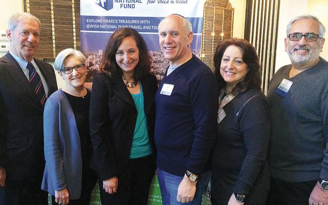 Ben Gutmann, national JNF board member, left; Susan Gutmann; Rebecca Shimoni-Stoil; breakfast co-chairs Jan and Lisa Seiffer; and Bruce Pomerantz, president of Northern New Jersey Jewish National Fund. (Courtesy JNF)
