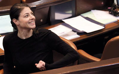 Merav Michaeli, shown in the Knesset, came to the United States with the message that Israel is still improving. (Michal Fatal)