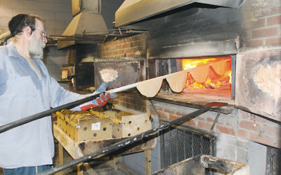 It takes about 20 seconds in a 1,300-degree, coal-and-wood-fired oven to bake shmura matzah to perfection. (Uriel Hellman)