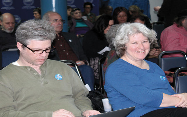 Charles Lenchner of Brooklyn, left, and Rabbi Iris Richman, a founder of Rabbis for Bernie, were at a Jewish Sanders campaign brunch in Manhattan on April 10. (Uriel Hellman)