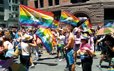 Participants in the 2014 San Francisco Pride Parade show their Jewish and Israeli pride. (Wikimedia Commons)