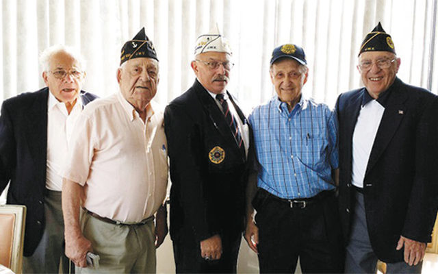 The Lt. James I. Platt JWV Post 651 of Fair Lawn installed officers earlier this month. From left, appointee Jack Wall, Commander Melvin Kaplan, New Jersey Department Commander Larry Rosenthal, Vice Commander George Pollack, and Vice Commander Jules Corn. (Courtesy JWV)