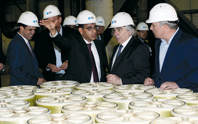 This month, U.S. Secretary of Energy Ernest Moniz (in front, second from right) tours Israel's Sorek seawater desalination plant, the largest facility of its kind in the world. (Matty Stern/U.S. Embassy Tel Aviv)